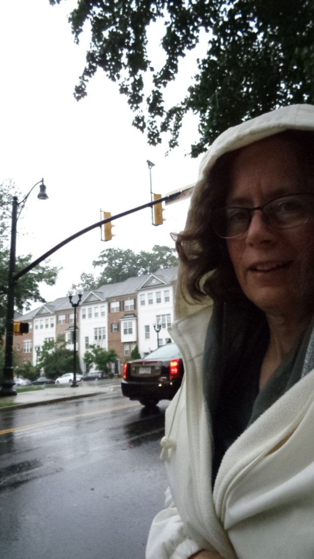 Me in a rain coat against a rainy street background