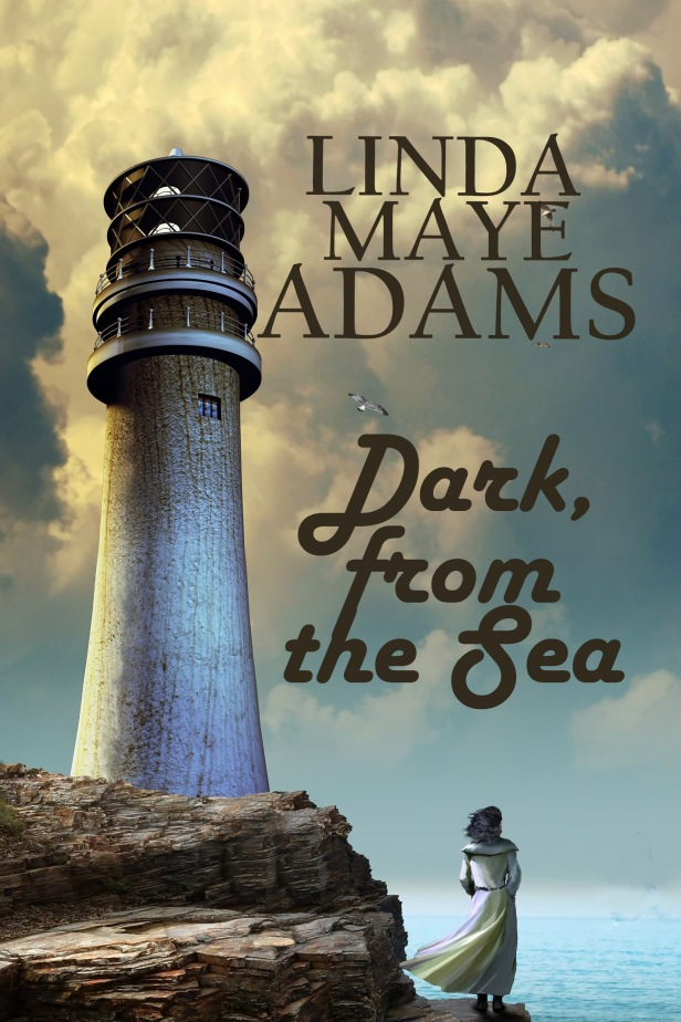 Fantasy sea tale: woman stands on the cliff next to a lighthouse