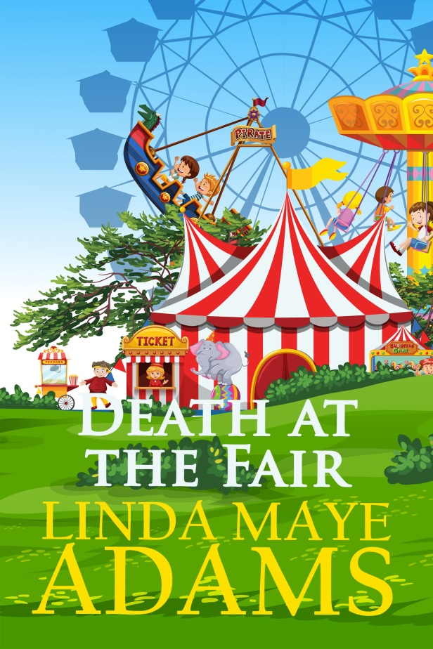 Cozy Mystery: red and white tents and a ferris wheel
