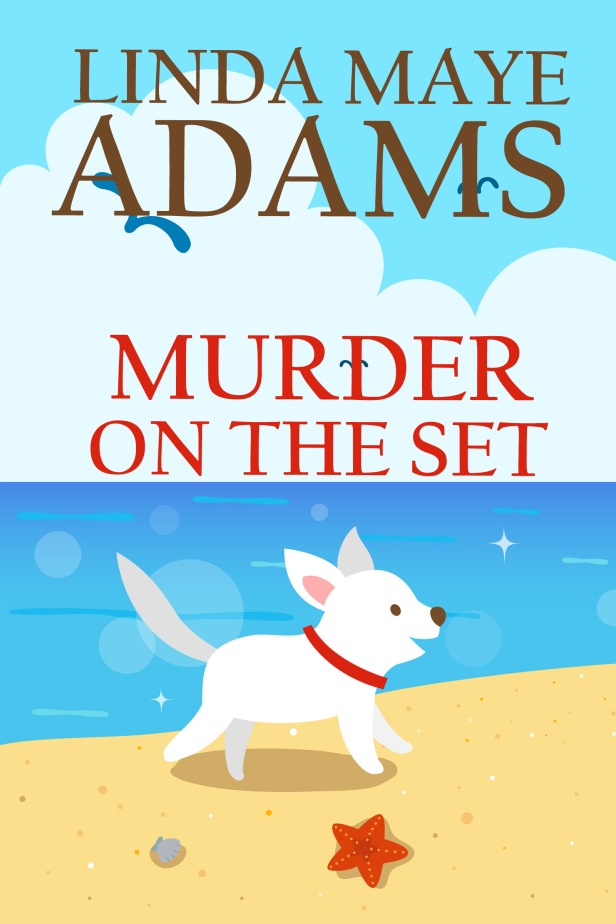 Cozy mystery: white dog running happily on a beach