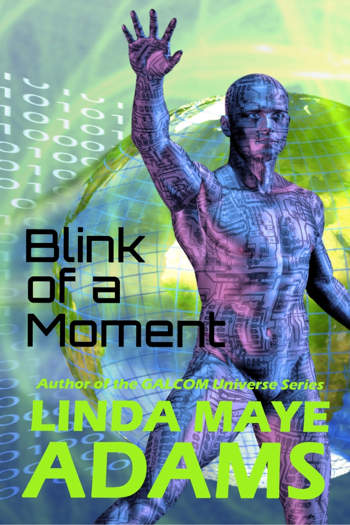 A computerized man against binary code background for a time travel story called Blink of a Moment