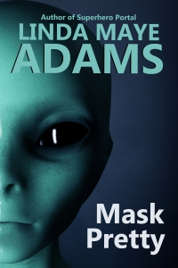 Closeup of gray alien with round eyes on Mask Pretty cover.